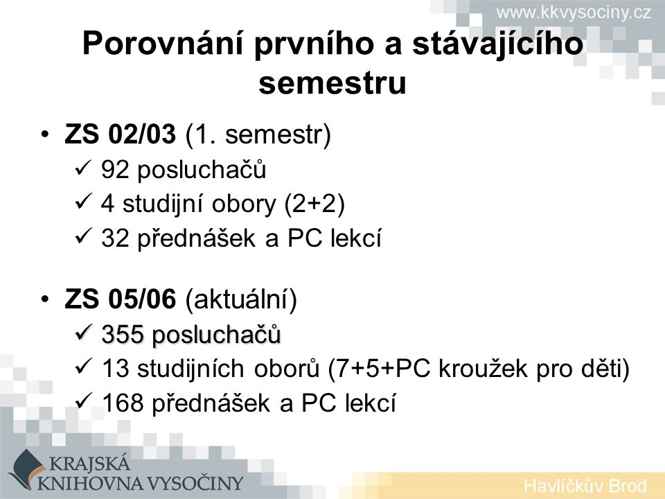 Porovnání prvního a stávajícího semestru