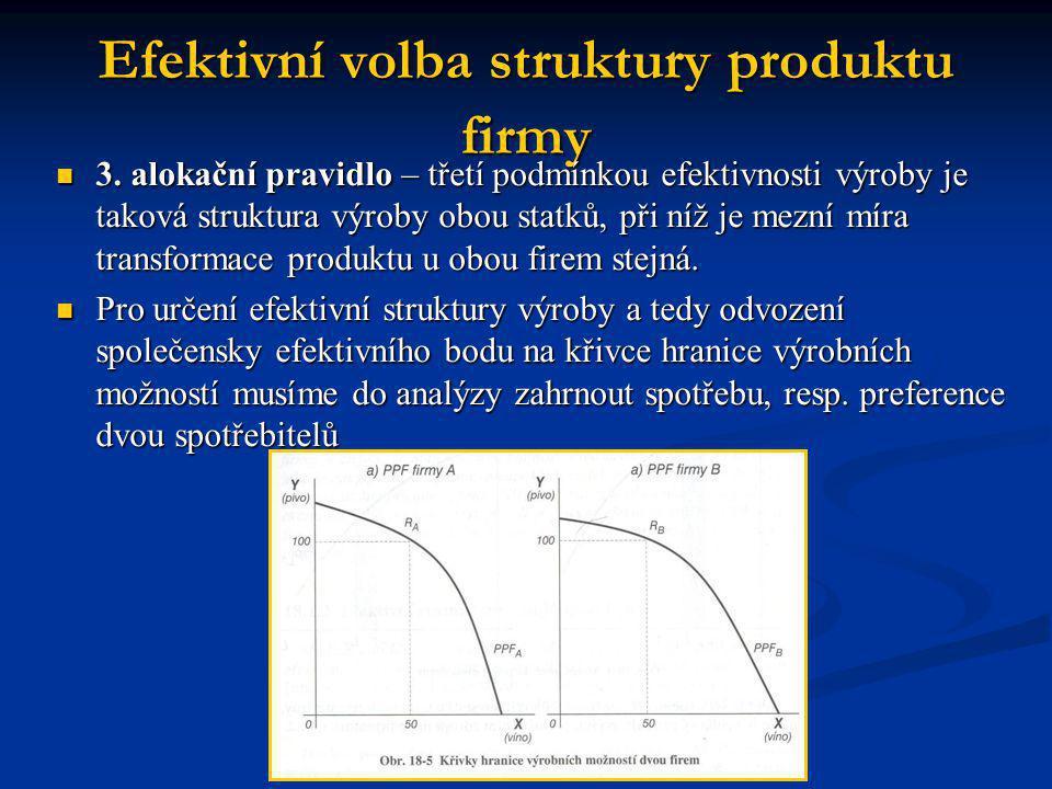 Efektivní volba struktury produktu firmy