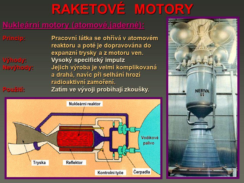 RAKETOVÉ MOTORY Nukleární motory (atomové,jaderné):