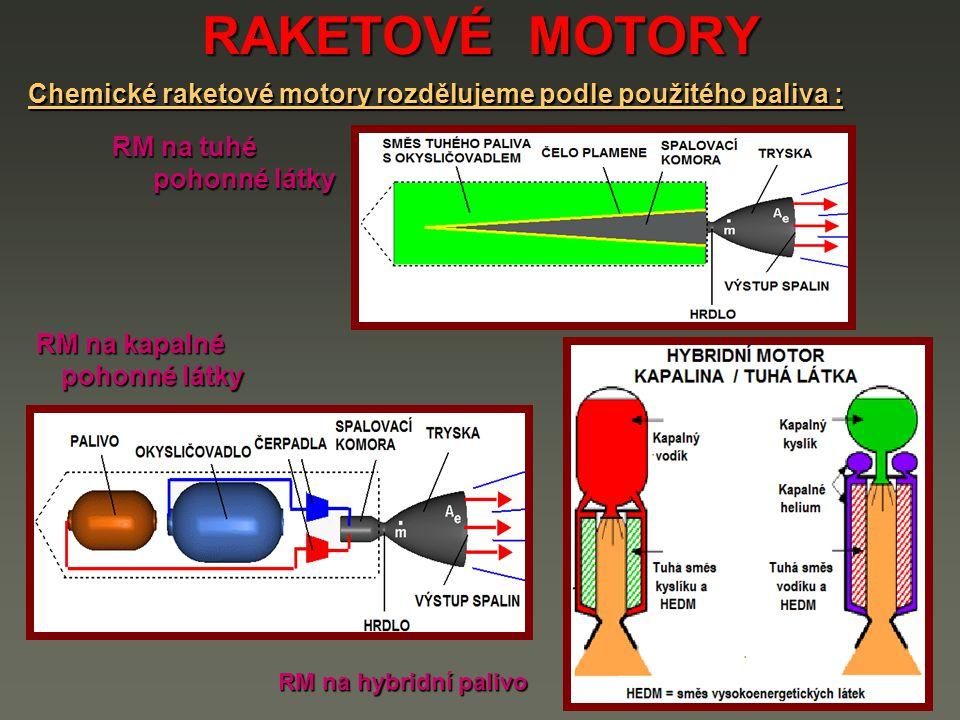 RAKETOVÉ MOTORY Chemické raketové motory rozdělujeme podle použitého paliva : RM na tuhé. pohonné látky.