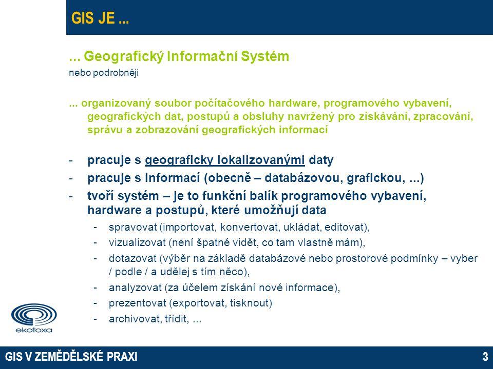 GIS JE ... ... Geografický Informační Systém