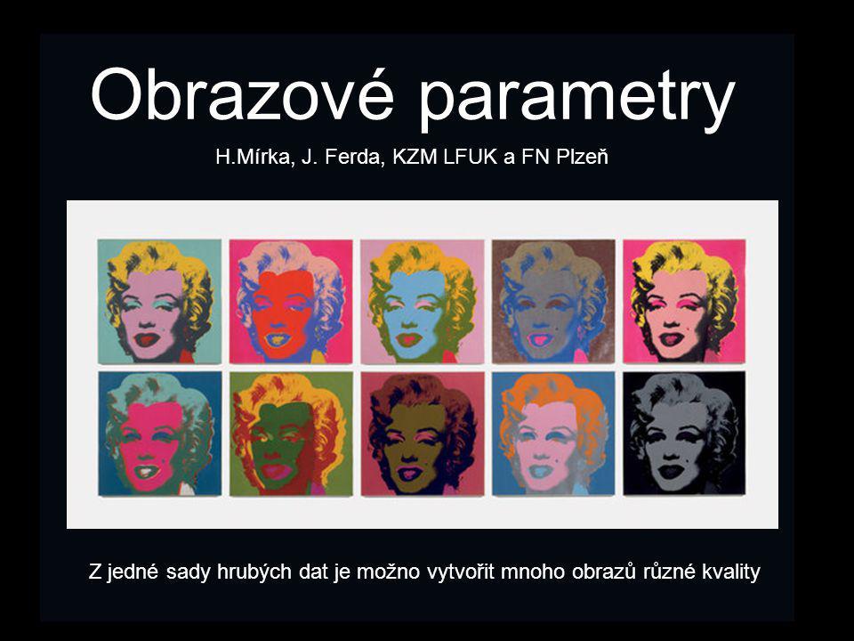 Obrazové parametry H.Mírka, J. Ferda, KZM LFUK a FN Plzeň