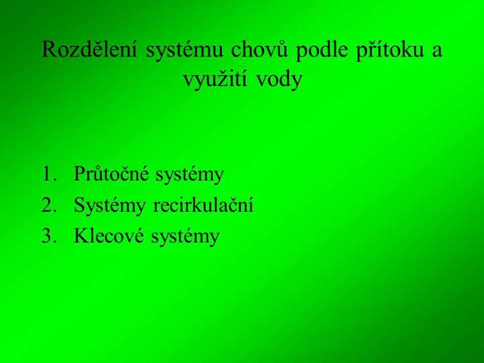 Rozdělení systému chovů podle přítoku a využití vody