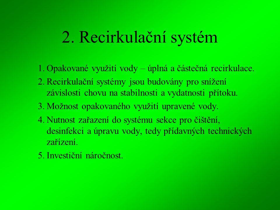 2. Recirkulační systém Opakované využití vody – úplná a částečná recirkulace.