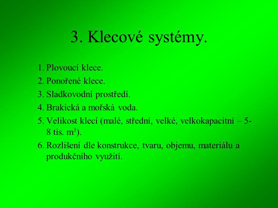 3. Klecové systémy. Plovoucí klece. Ponořené klece.
