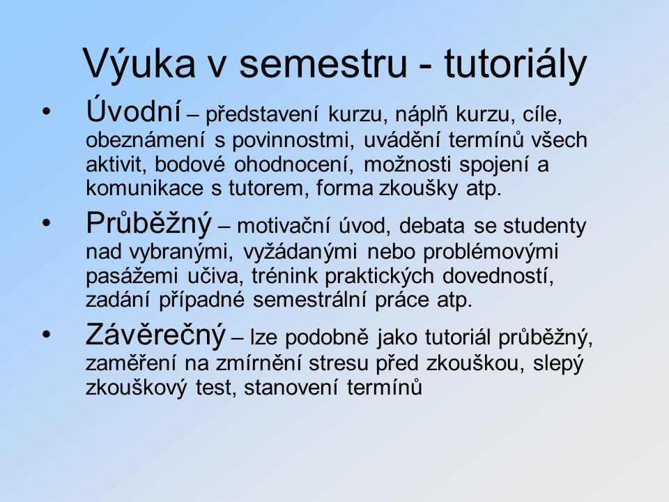 Výuka v semestru - tutoriály