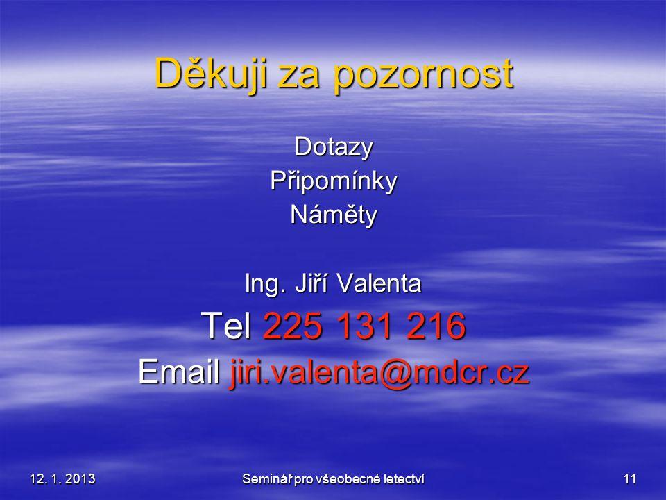 Děkuji za pozornost Tel 225 131 216 Email jiri.valenta@mdcr.cz Dotazy