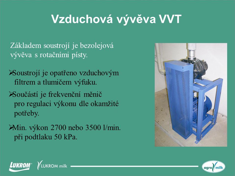Vzduchová vývěva VVT Základem soustrojí je bezolejová vývěva s rotačními písty. Soustrojí je opatřeno vzduchovým filtrem a tlumičem výfuku.