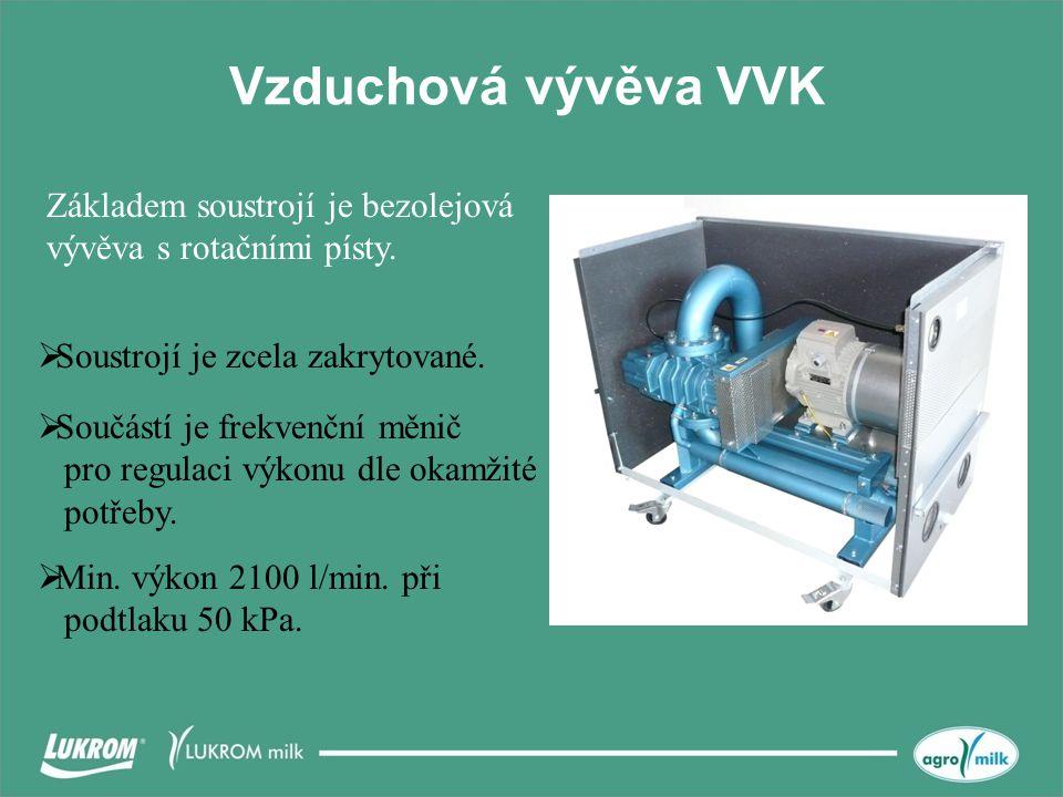 Vzduchová vývěva VVK Základem soustrojí je bezolejová vývěva s rotačními písty. Soustrojí je zcela zakrytované.