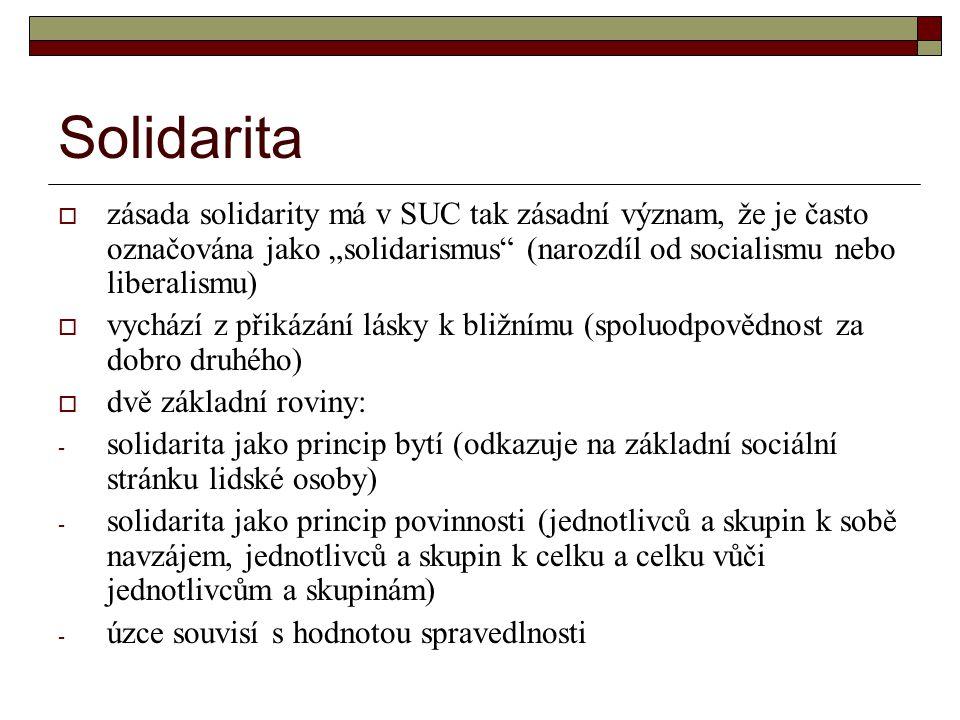 """Solidarita zásada solidarity má v SUC tak zásadní význam, že je často označována jako """"solidarismus (narozdíl od socialismu nebo liberalismu)"""