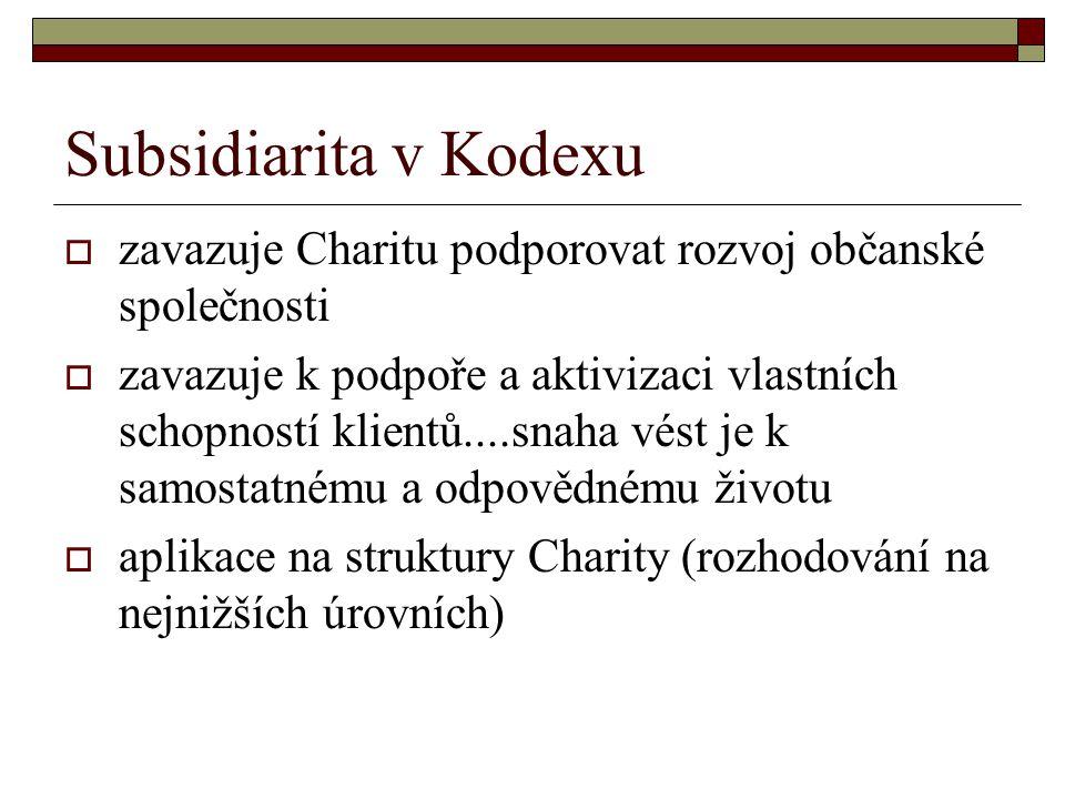 Subsidiarita v Kodexu zavazuje Charitu podporovat rozvoj občanské společnosti.