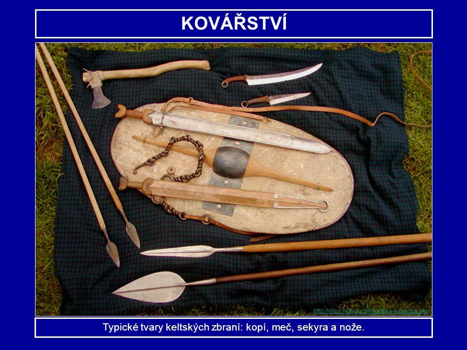 Typické tvary keltských zbraní: kopí, meč, sekyra a nože.