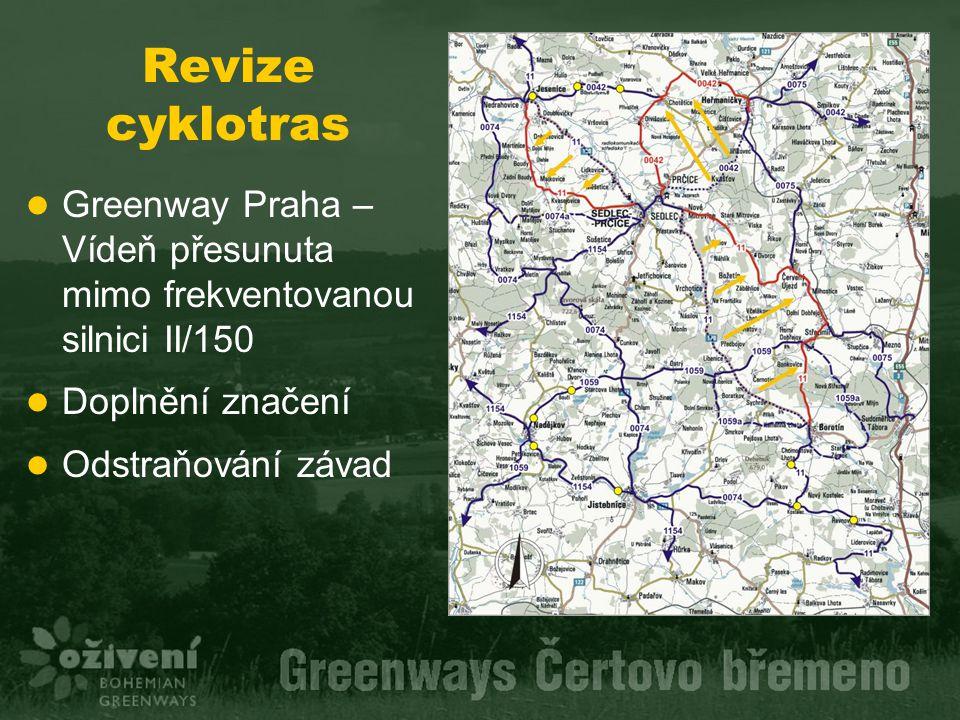 Revize cyklotras Greenway Praha – Vídeň přesunuta mimo frekventovanou silnici II/150. Doplnění značení.