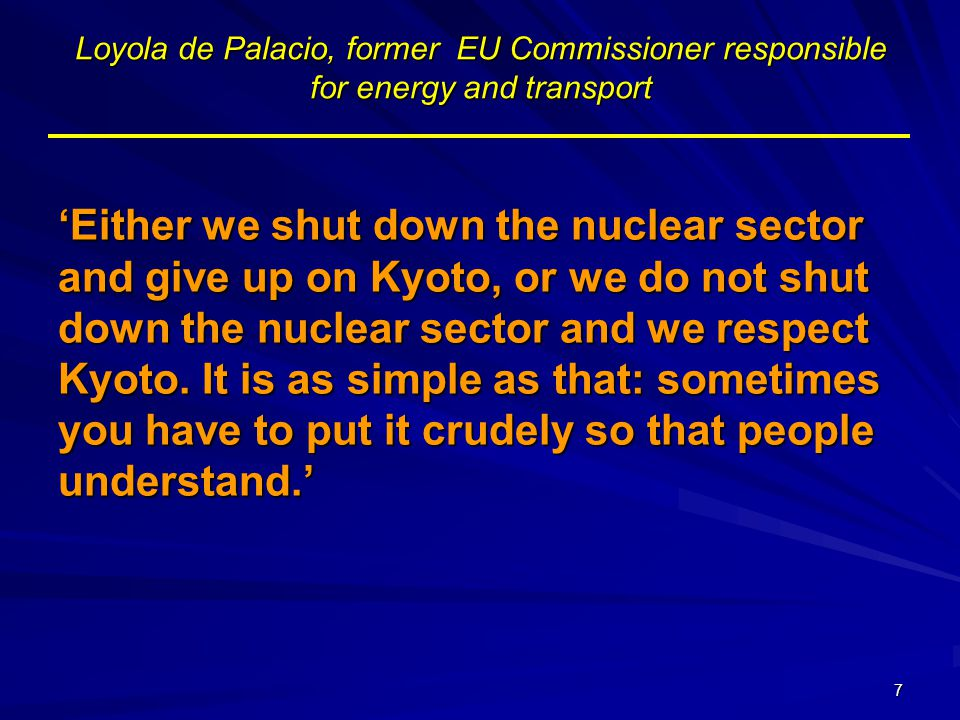 Loyola de Palacio, former EU Commissioner responsible for energy and transport