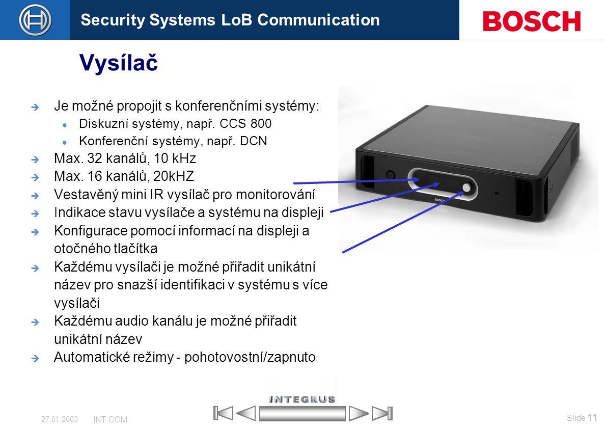 Vysílač Je možné propojit s konferenčními systémy: