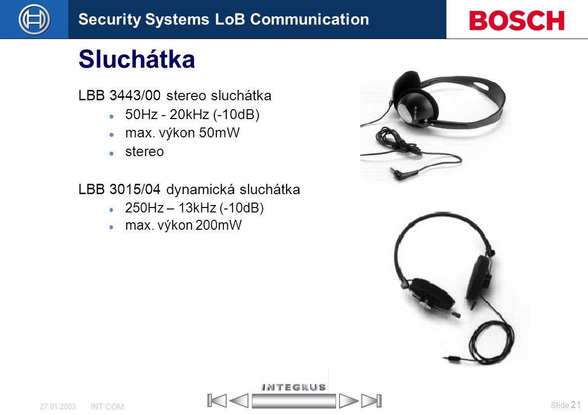 Sluchátka LBB 3443/00 stereo sluchátka LBB 3015/04 dynamická sluchátka