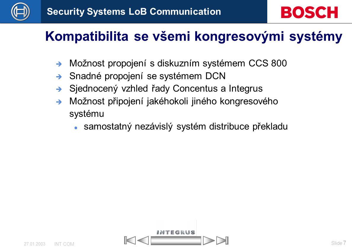 Kompatibilita se všemi kongresovými systémy