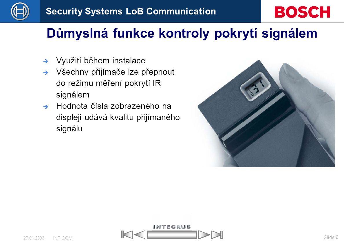 Důmyslná funkce kontroly pokrytí signálem