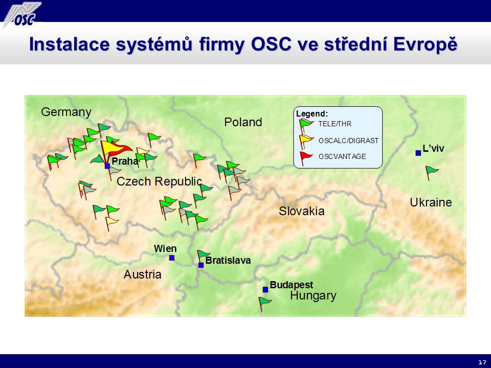 Instalace systémů firmy OSC ve střední Evropě