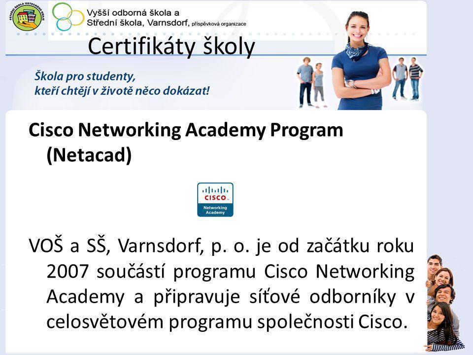 Certifikáty školy
