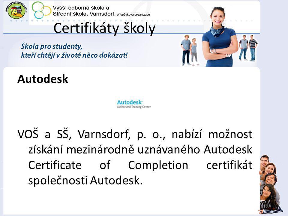 Certifikáty školy Autodesk
