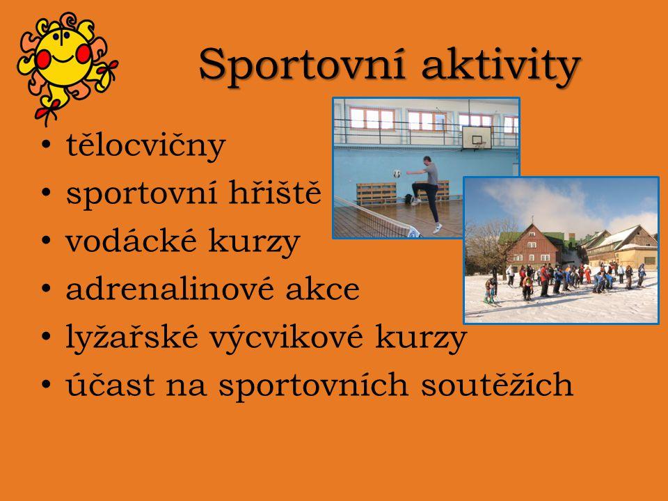 Sportovní aktivity tělocvičny sportovní hřiště vodácké kurzy