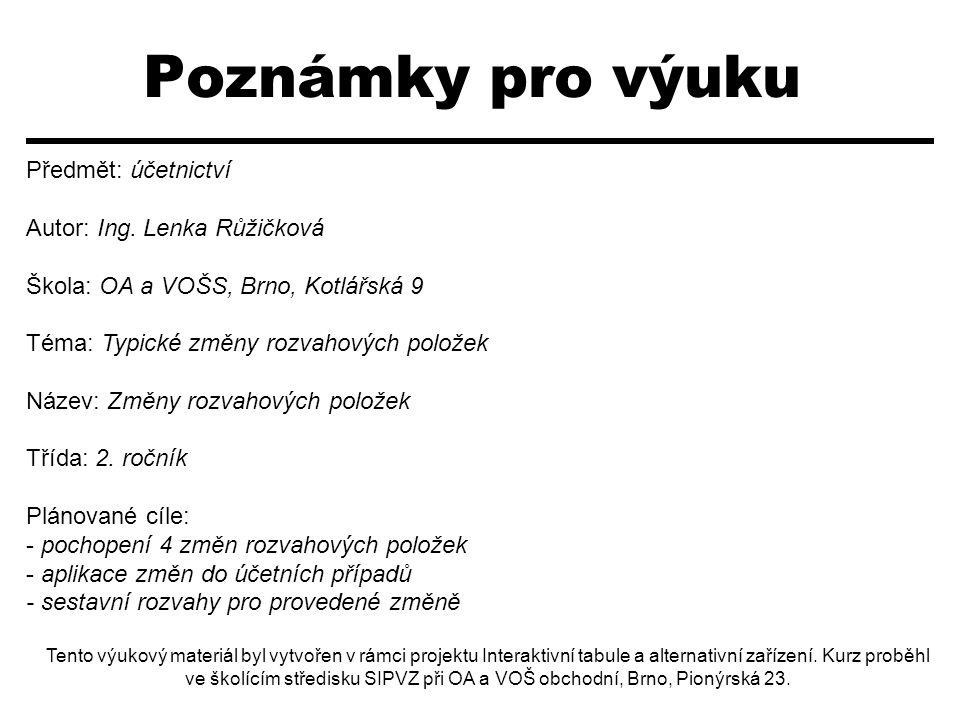 Poznámky pro výuku Předmět: účetnictví Autor: Ing. Lenka Růžičková