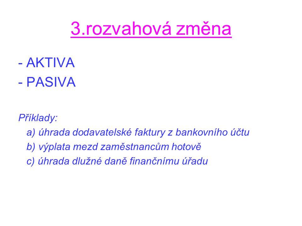 3.rozvahová změna - AKTIVA - PASIVA Příklady: