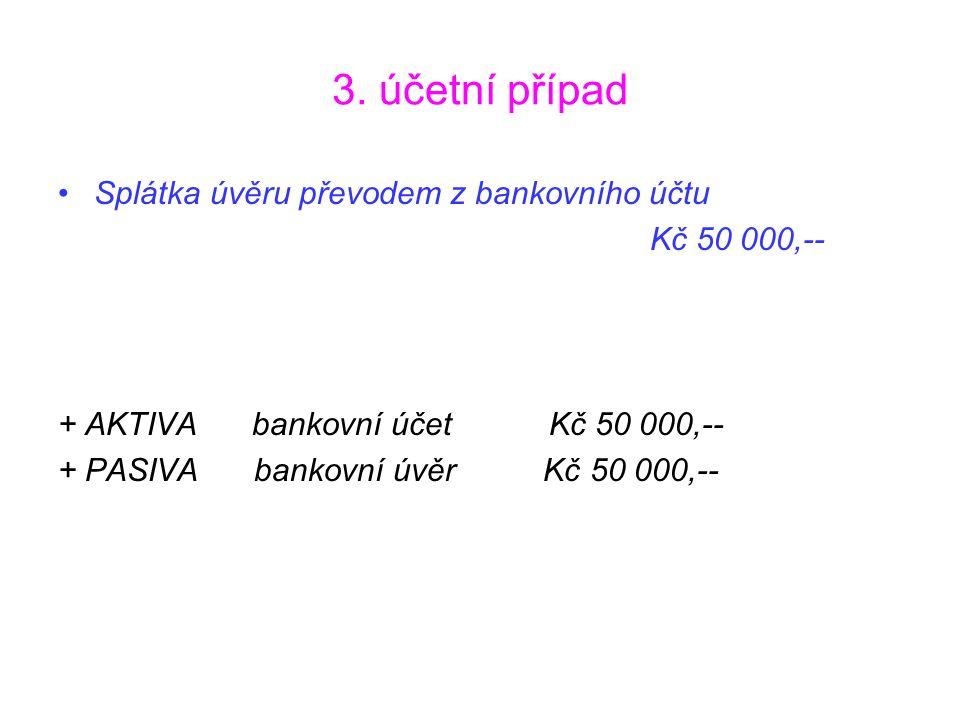 3. účetní případ Splátka úvěru převodem z bankovního účtu Kč 50 000,--