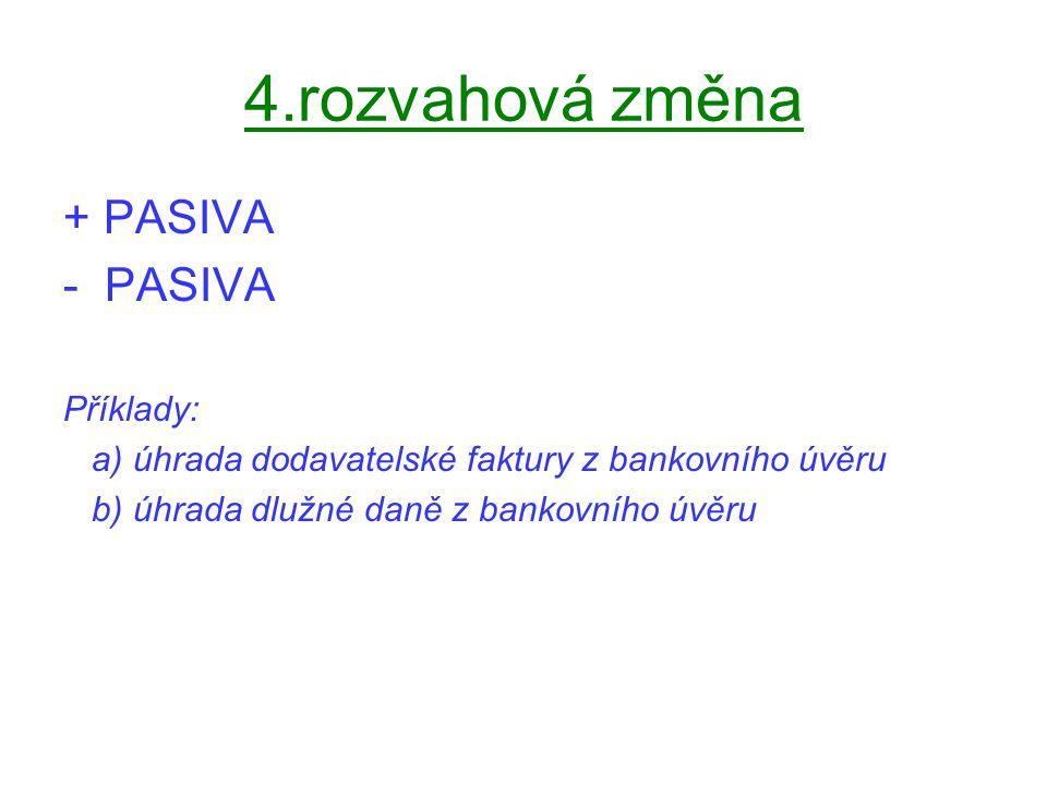 4.rozvahová změna + PASIVA - PASIVA Příklady: