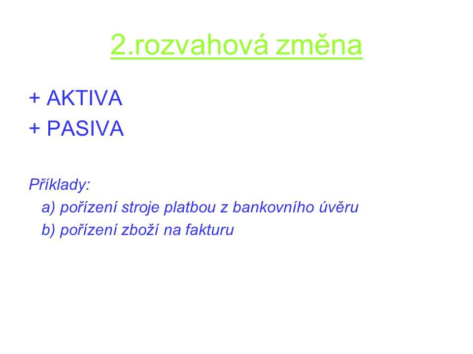 2.rozvahová změna + AKTIVA + PASIVA Příklady: