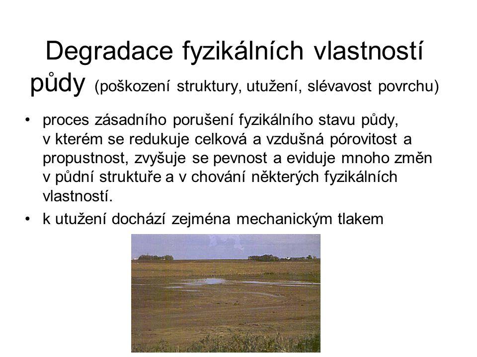 Degradace fyzikálních vlastností půdy (poškození struktury, utužení, slévavost povrchu)