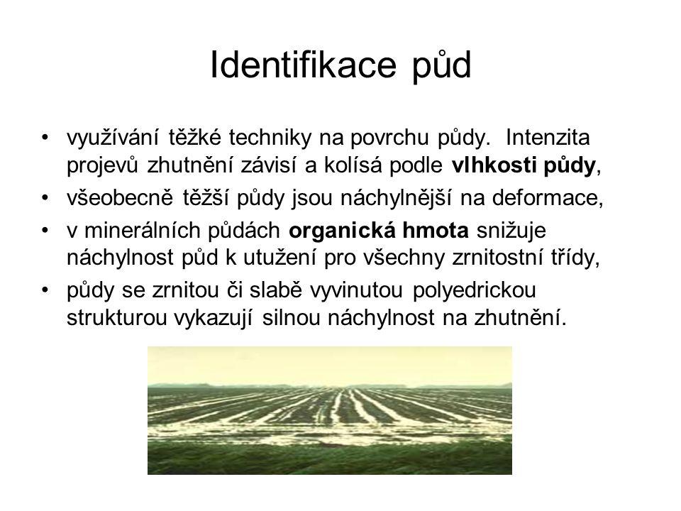 Identifikace půd využívání těžké techniky na povrchu půdy. Intenzita projevů zhutnění závisí a kolísá podle vlhkosti půdy,