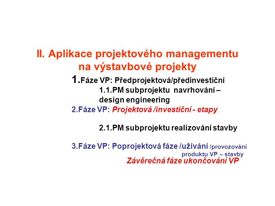 II. Aplikace projektového managementu na výstavbové projekty