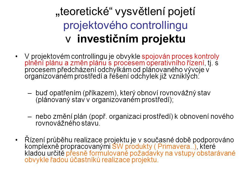 """""""teoretické vysvětlení pojetí projektového controllingu v investičním projektu"""