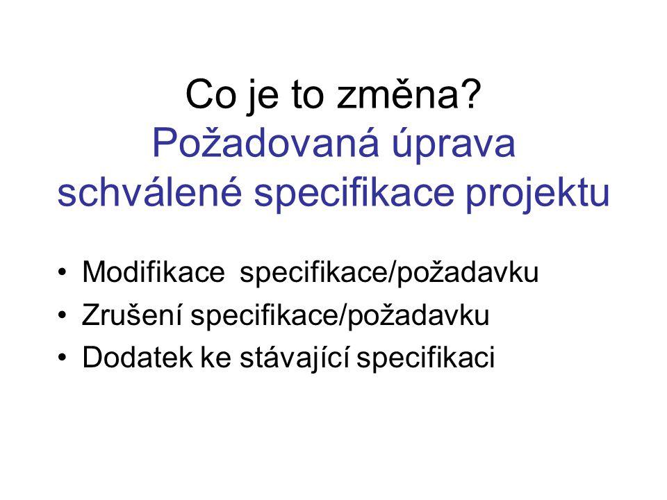 Co je to změna Požadovaná úprava schválené specifikace projektu