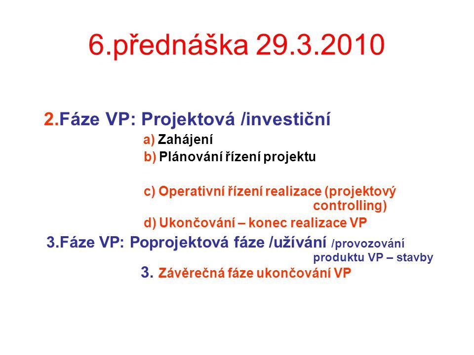 6.přednáška 29.3.2010 2.Fáze VP: Projektová /investiční