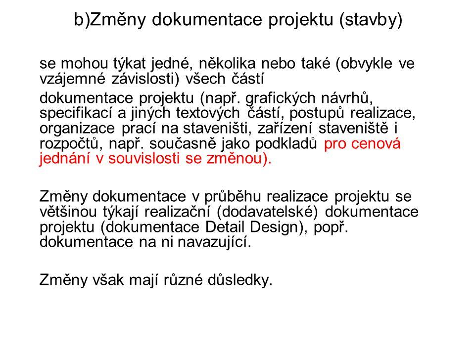 b)Změny dokumentace projektu (stavby)