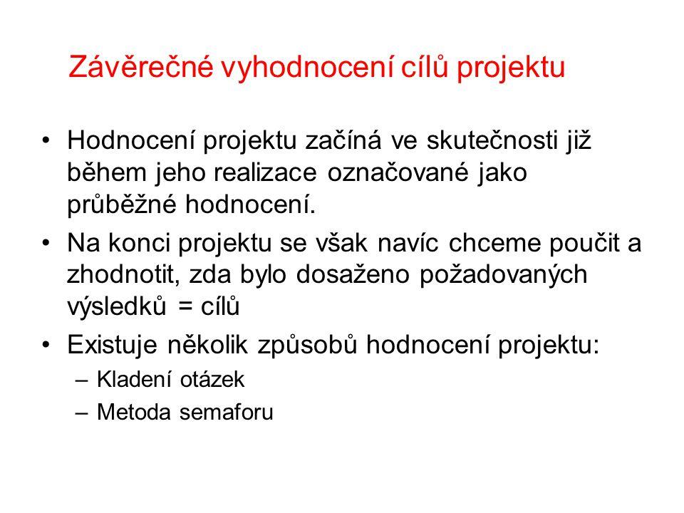 Závěrečné vyhodnocení cílů projektu
