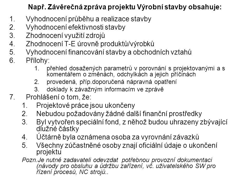 Např. Závěrečná zpráva projektu Výrobní stavby obsahuje: