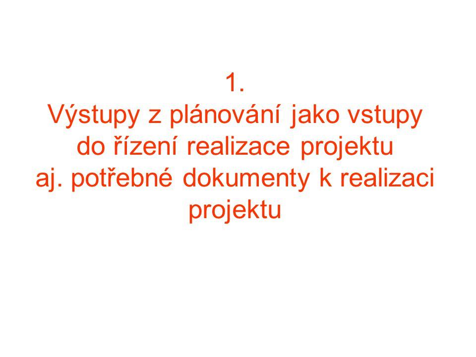 1. Výstupy z plánování jako vstupy do řízení realizace projektu aj