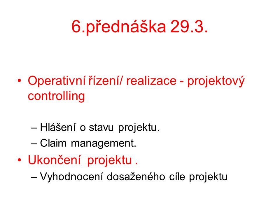 6.přednáška 29.3. Operativní řízení/ realizace - projektový controlling. Hlášení o stavu projektu.