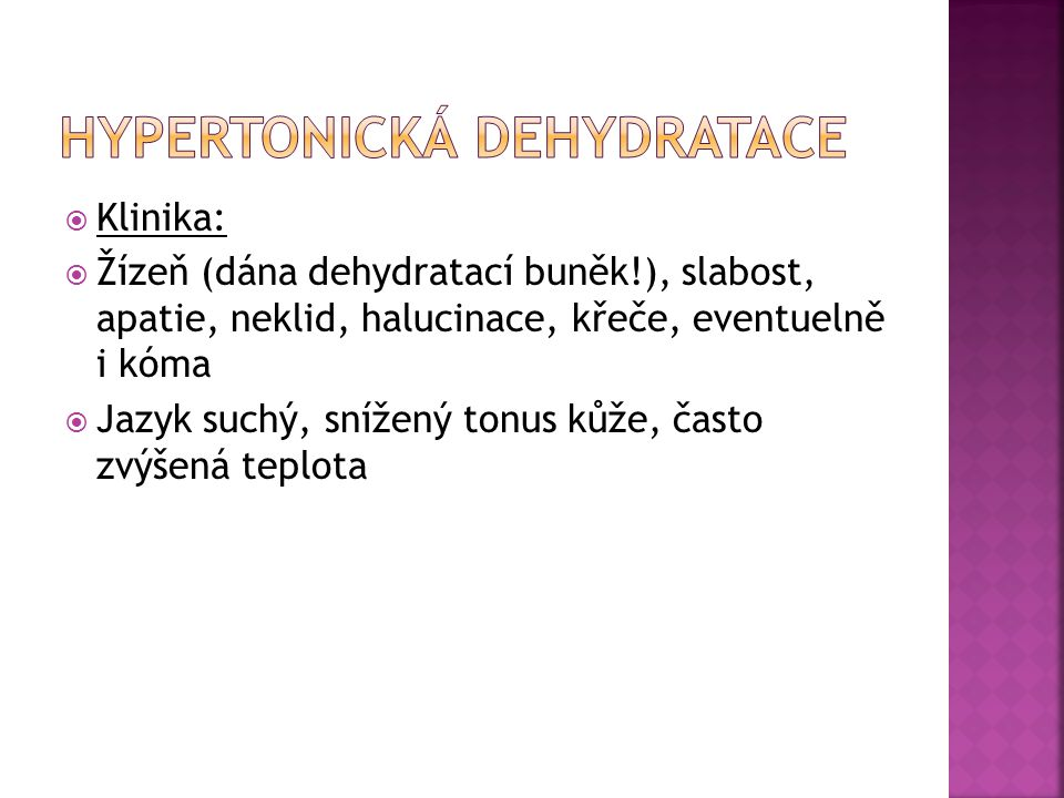 HYPERTONICKÁ DEHYDRATACE