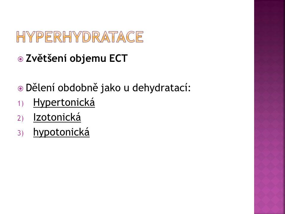 HYPERHYDRATACE Zvětšení objemu ECT Dělení obdobně jako u dehydratací: