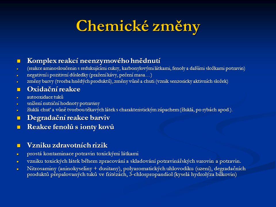 Chemické změny Komplex reakcí neenzymového hnědnutí Oxidační reakce