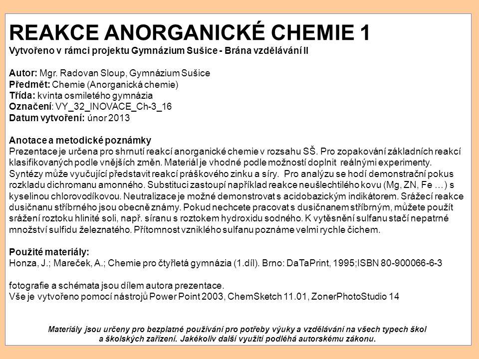 REAKCE ANORGANICKÉ CHEMIE 1