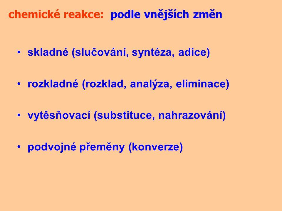 chemické reakce: podle vnějších změn. skladné (slučování, syntéza, adice) rozkladné (rozklad, analýza, eliminace)