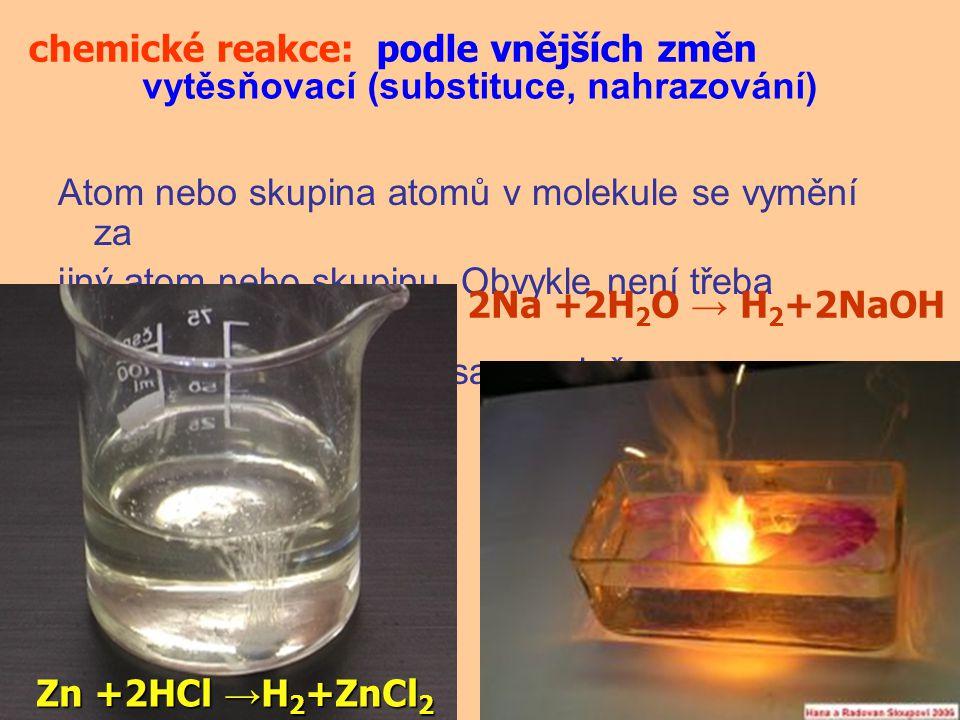 chemické reakce: podle vnějších změn. vytěsňovací (substituce, nahrazování)