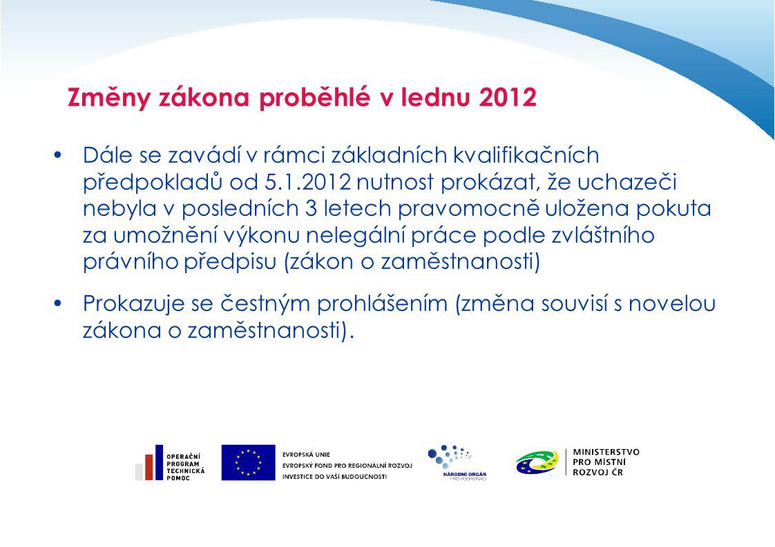 Změny zákona proběhlé v lednu 2012