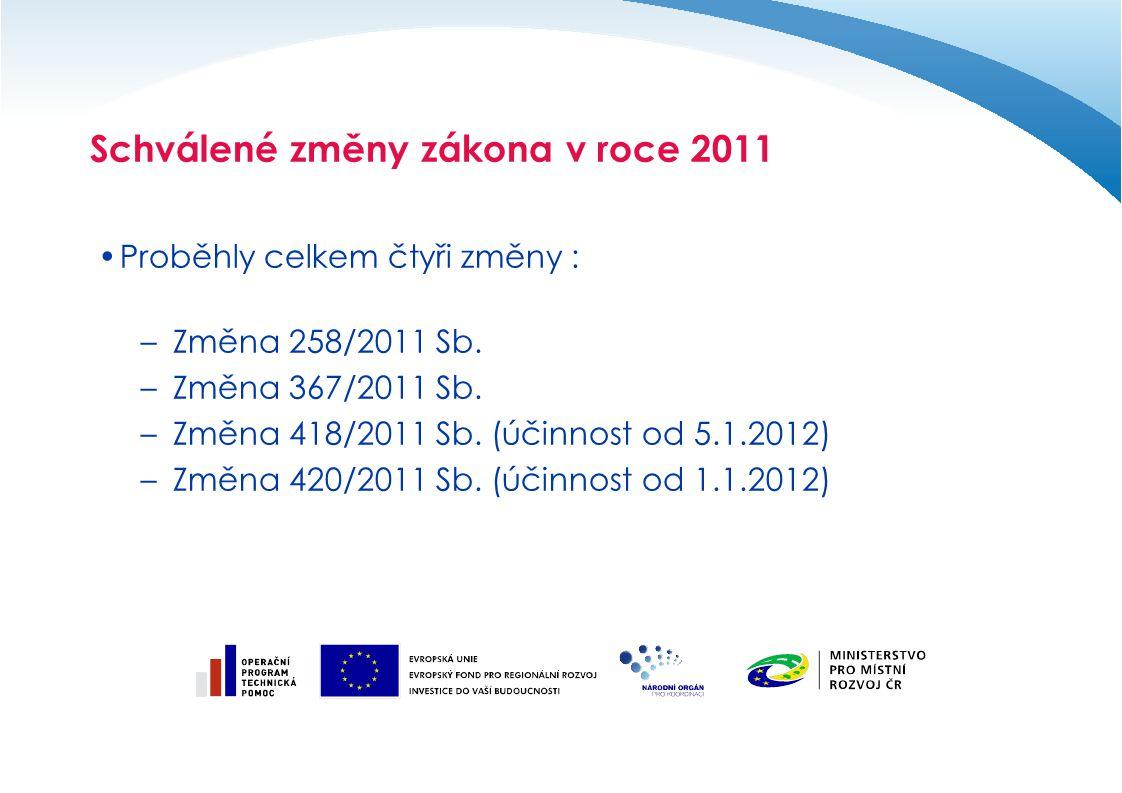 Schválené změny zákona v roce 2011